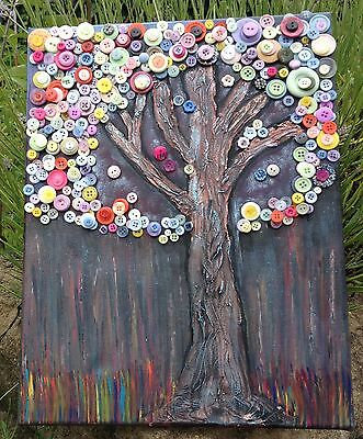 "' Firefly Button Tree' 12 x 16"" original mixed media canvas."