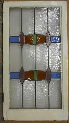 "LARGE OLD ENGLISH LEADED STAINED GLASS WINDOW Cool Geometric 20.5"" x 37.5"""