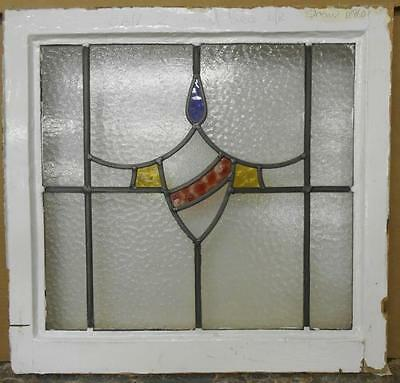 "OLD ENGLISH LEADED STAINED GLASS WINDOW Nice Shield Swag 21.5"" x 20.5"""