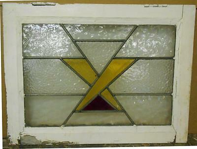 "OLD ENGLISH LEADED STAINED GLASS WINDOW Geometric Criss Cross 21.75"" x 16.25"""