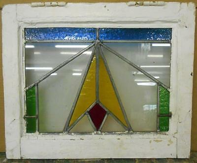 "OLD ENGLISH LEADED STAINED GLASS WINDOW Pretty Geometric 18"" x 14.75"""