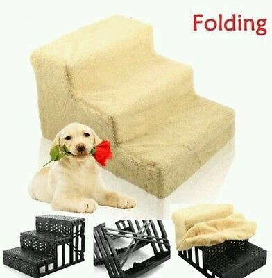 Funny Pet Dog /cat Ladder 3 Steps Soft Stairs Puppy Washable Cover Ramp Foldable