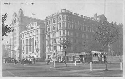 SHANGHAI, CHINA, BUILDINGS ON THE BUND, TROLLEY, PEOPLE REAL PHOTO PC c. 1930's