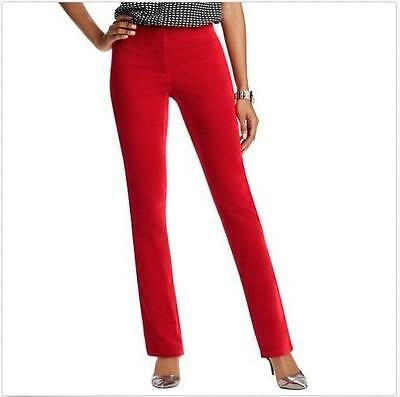 NWT Ann Taylor LOFT Straight Skinny Stretch Velvet Pants  $69.50  Red