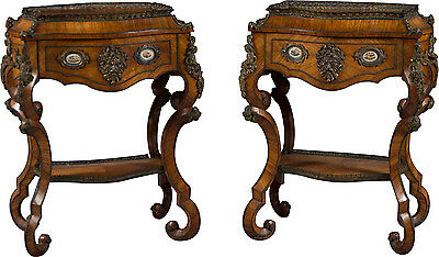 Fine Antique Pair of French Rococo Style Bonze Mounted Side Tables Circa 1870