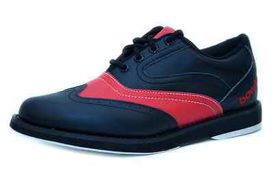 Bowlio Pro Series Strike Red - Leather Tenpin Bowling Shoes in black and red