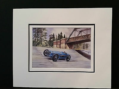 G P Delage at Brooklands by Bob Murray Open Edition Print Mounted