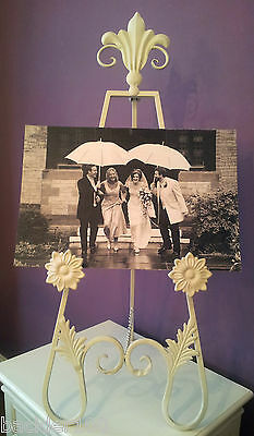 Shabby Chic Table Planner Holder Easel Picture Wedding Display Cream Metal Aged