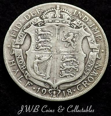 1918 George V .925 Silver Half-crown Coin - Great Britain.