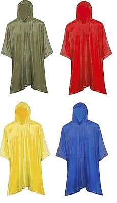 Adult Hooded Pullover Rain Coat Poncho Jacket w/ Side Snaps Durable Light Weight
