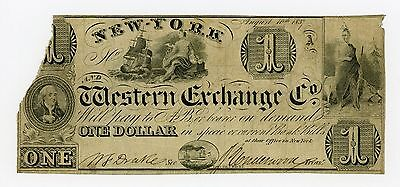 1837 $1 The New-York and Western Exchange Co. - NEW YORK Note