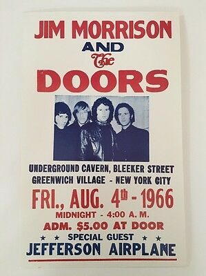 Jim Morrison & The Doors Village NYC 1966 Poster Pin-up Show Concert Promo Print