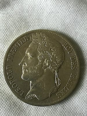 1833 Belgium silver 5 francs Crown- 2nd Year Of Issue