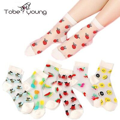 Fashion Fruit Smile Face Invisible Transparent Crystal Glass Silk Ankle Socks