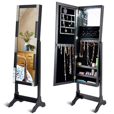 Jewelry Jewellery Cabinet Storage Boxes Organiser Armoire Mirror&Floor Stand