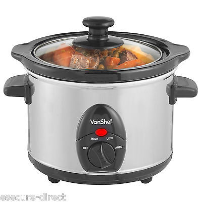 VonShef Electric Slow Cooker 1.5L Stainless Steel Pot
