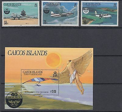 CAICOS ISLANDS :1985 Civil Avation Organisation set + M/Sheet SG 78-80 +MS81 MNH