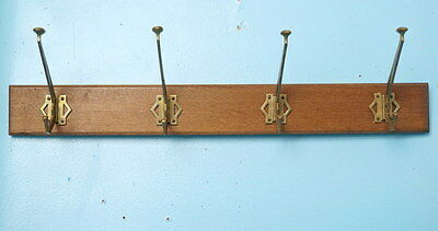 Antique Art Nouveau Art Deco Beveled Wood & Brass Coat Hanger Rack c1910