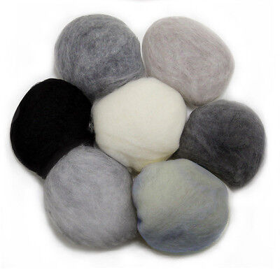 WHITE BLACK GREY 11 Colors Felting Wool Carded Craft Hand Spin Wet Needle Felt