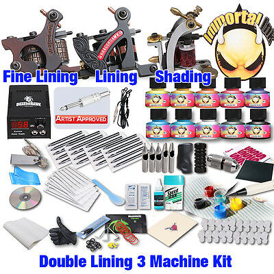 Professional Complete Tattoo Kit 3 Top Machine Gun 10 Inks 50Needle Power Supply
