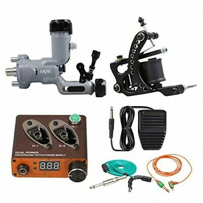 Professional Complete Tattoo Kit 2 Damascus Top Machine Gun 10 Color Ink