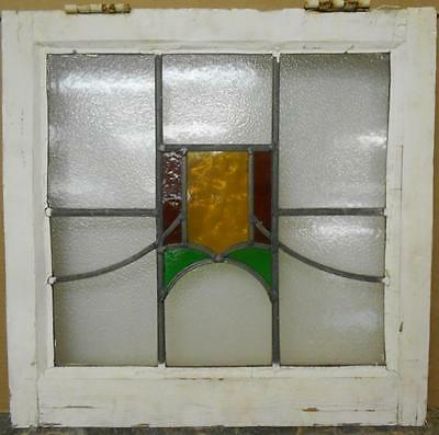 "OLD ENGLISH LEADED STAINED GLASS WINDOW Geometric Swag Design 20.25"" x 19.75"""