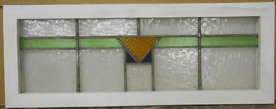 "OLD ENGLISH LEADED STAINED GLASS WINDOW TRANSOM Lovely Geometric 36"" x 13.5"""