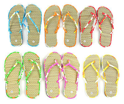 Lot of 96 Pairs Wholesale Women's Bamboo Flip Flops Sandals Flip Flop Sandal New