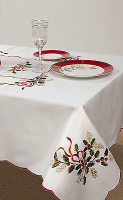 Lenox Holiday Nouveau Cutwork Embroidered Ribbon Holly Tablecloth Various Sizes