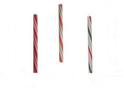 "Candy Cane Stripe Scented 8"" Taper Christmas Holiday Candles - 3 Colors"