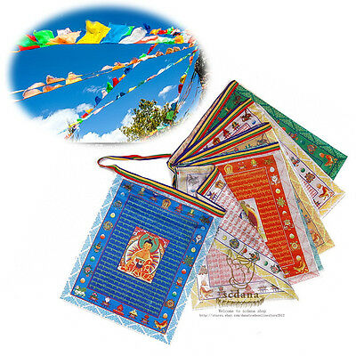 110 Inch Long Colorful Flag Tibet Buddhism Prayer Flag 10 Buddhas statues Sutras