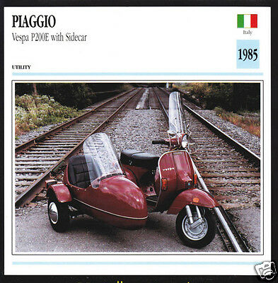 1985 Piaggio Vespa P200E with Sidecar Scooter Moped Italy Motorcycle Photo Card