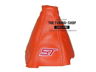 For Ford Focus Mk3 2012-15 Gear Stick Gaiter Orange Leather Red St Embroidery