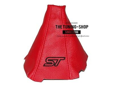For Ford Focus Mk3 2012-15 Gear Stick Gaiter Red Leather Black St Embroidery