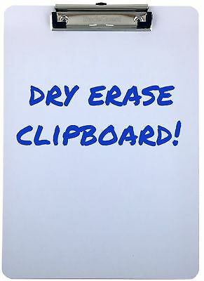 Clipboard Dry Erase Surface Low Profile Clip Whiteboard Single (Pack of 1) New