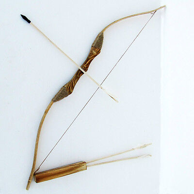 "Youth Wooden Bow and Arrow with Qiver and Set of 3 Arrows Learn archery 40"" long"