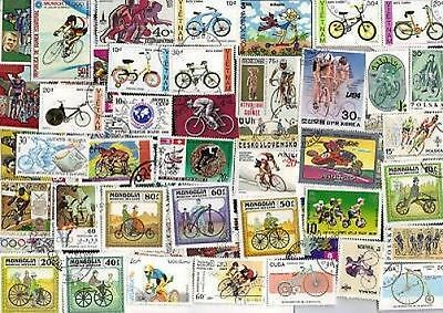 50  All Different BICYCLES  on Stamps (lot p)