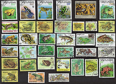 35 Mostly Frogs & Toads On Stamps