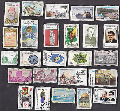 25 All Different TURKISH REPUBLIC OF NORTHERN CYPRUS (TRNC) Stamps