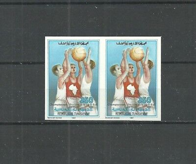 1987- Tunisia- Imperforated pair-6th African Basketball Championship