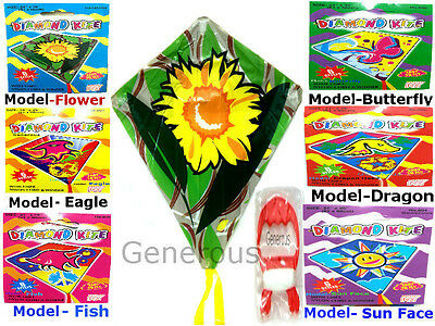 6 Styles KITE CHILDREN FLY KIDS AIR OUTDOOR ACTIVITY WITH 120 FT NYLON & WINDER