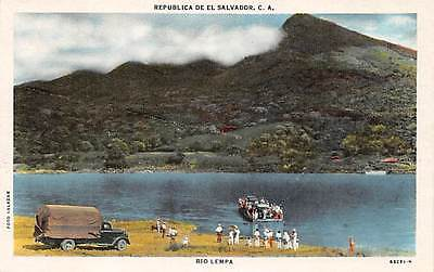 EL SALVADOR ~ RIO LEMPA OVERVIEW, FERRY BOAT, PEOPLE, TRUCK ~ dated 1946