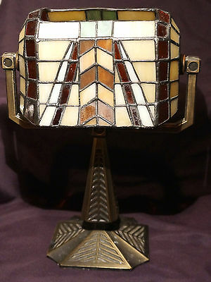 Tiffany Style Bankers Lamp Tea Light Holder Art Deco by Partylite