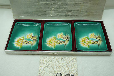 VINTAGE JAPANESE CLOISONNE TRAYS DISHES SET 3 ENAMEL FLORAL SHIPPO YAKE 4.5in