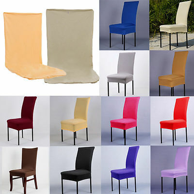 Solid Stretch Short Dining Seat Chair Covers Slipcovers Wedding Party Decor