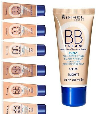 RIMMEL BB Cream 9 in 1 Beauty Balm Skin Perfecting CHOOSE YOUR COLOUR and SIZE