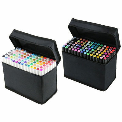 80 Colours Alcohol Graphic Art Sketch Twin Marker Drawing Pen Broad Fine Point