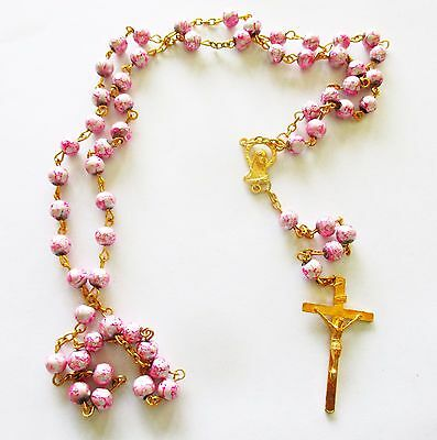 Beautiful Rosary with Pink  Beads, Golden Tone Metal, Stunning