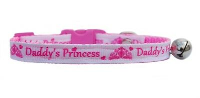 "Pink & White ""Daddy's Princess""   safety kitten cat collar 3 sizes"