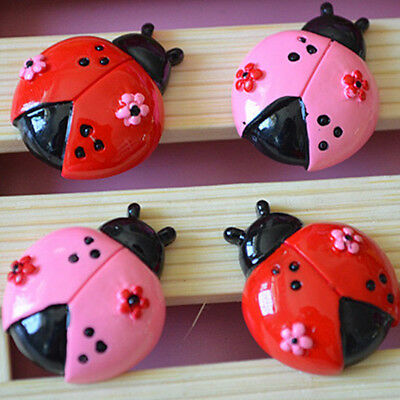 10pcs Red Pink Ladybug Flower Resin Flatback Hair Accessories Craft Decoration
